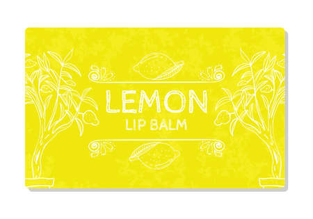 health beauty: Colorful textured label, sticker for cosmetic products. Packaging design lipstick lemon. Vector illustration