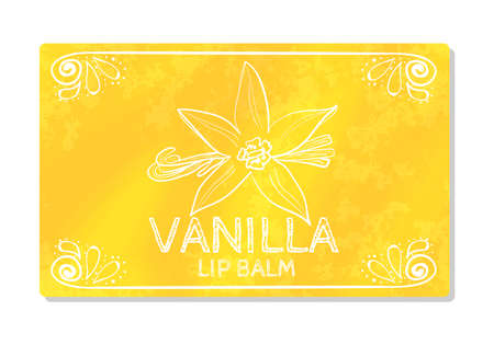 taste: Colorful textured label, sticker for cosmetic products. Packaging design lipstick the taste of sweet vanilla. Vector illustration