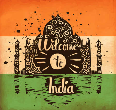 ashok: Colorful hand lettering is a poster on the theme of travel and adventure abroad. Familiarity with the culture of India. Vector illustration