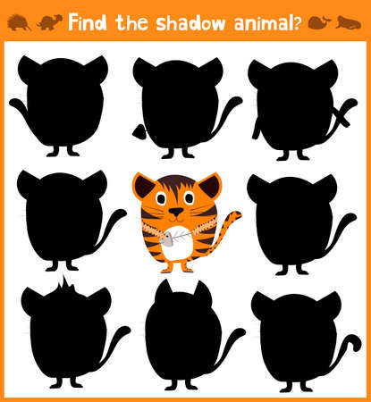 Cartoon vector illustration of education will find appropriate shadow silhouette animal cat. Matching game for children of preschool age. Vector illustration Ilustração