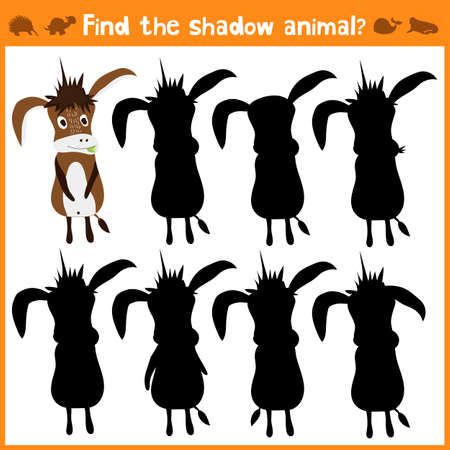 matching: Cartoon vector illustration of education will find appropriate shadow silhouette animal the donkey. Matching game for children of preschool age. Vector illustration