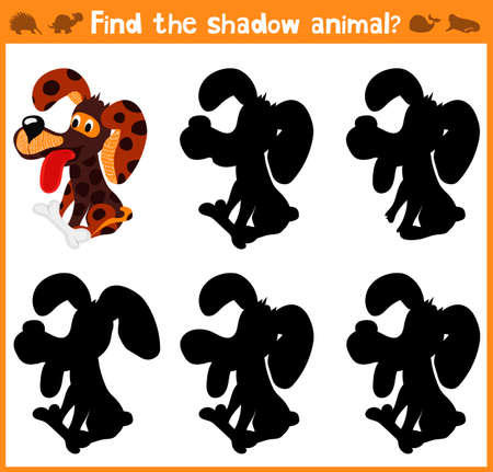 appropriate: Cartoon vector illustration of education will find appropriate shadow silhouette animal dog. Matching game for children of preschool age. Vector illustration