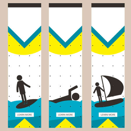 yachting: Set of colorful sports banners in the style of minimalism flat for commercial websites. Surfing, swimming and yachting. Vector illustration