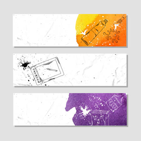 draftsman: Isolated crumpled paper banner for your design. Accessories for drawing, illustration and design. Vector illustration Illustration