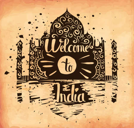 familiarity: hand lettering is a poster on the theme of travel and adventure abroad. Familiarity with the traditions and attractions of India. Vector illustration Illustration