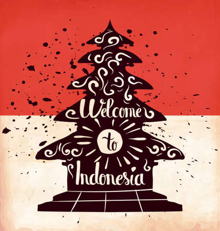 indonesia culture: Colorful retro hand lettering is a poster on the theme of travel and adventure abroad. Familiarity with the culture of Indonesia. Vector illustration Illustration