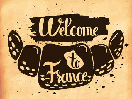acquaintance: Hand lettering is a poster on the theme of travel and adventure abroad. Acquaintance with national cuisine of France. Vector illustration