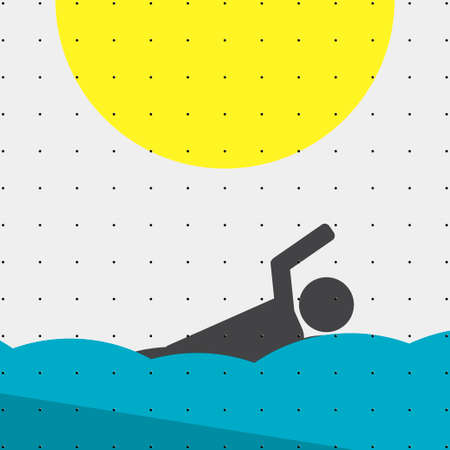 pool player: Colorful sports poster-style minimalism flat for commercial websites. Athlete swimming in water. Vector illustration