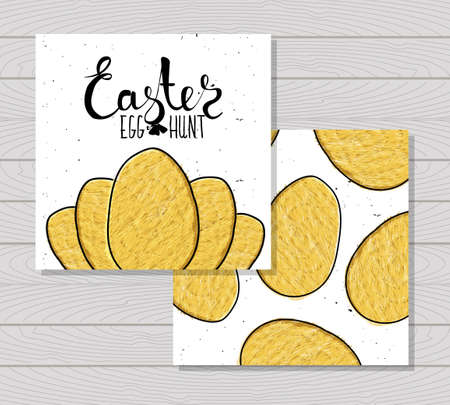 printable: Colorful printable cards for the Easter holiday. Vector illustration