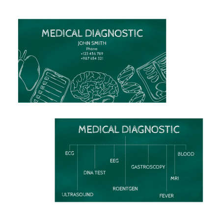 medical professional: Template professional business cards for printing in the printing industry isolated on white background. Medical laboratory, clinic diagnosis. Vector illustration Illustration
