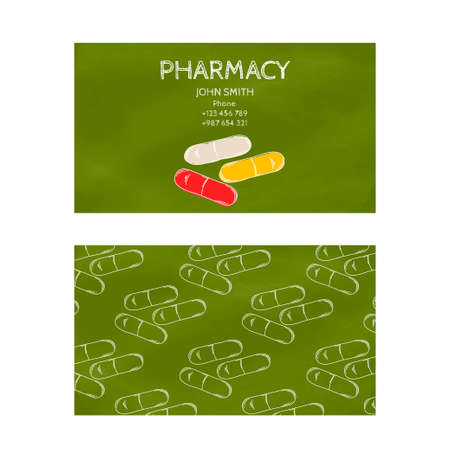 pharmaceuticals: Template professional green business card for printing in the printing industry isolated on white background. Medical laboratory, pharmacy and pharmaceuticals. Vector illustration