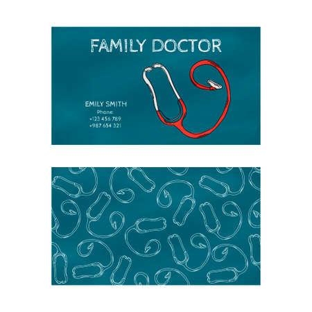Sjabloon professionele blauw visitekaartje om af te drukken in de grafische industrie op een witte achtergrond. Huisarts, internist, kinderarts. vector illustratie Stockfoto - 55051047