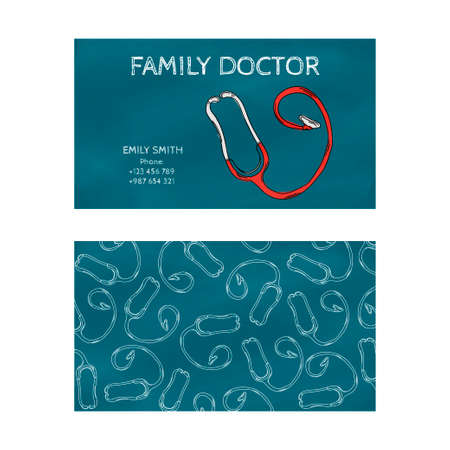 family physician: Template professional blue business card for printing in the printing industry isolated on white background. Family doctor, internist, pediatrician. Vector illustration