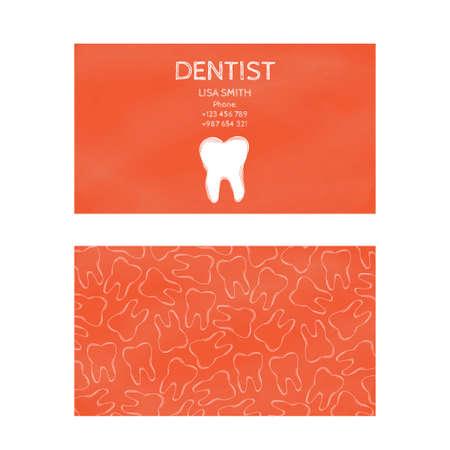 comunicacion oral: Plantilla tarjetas de visita profesionales de la impresión en la industria gráfica aislados en fondo blanco. médico de familia, la odontología, la prevención y el tratamiento dental. ilustración vectorial