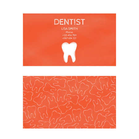dental treatment: Template professional business cards for printing in the printing industry isolated on white background. Family doctor, dentistry, prevention and dental treatment. Vector illustration