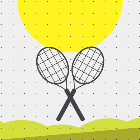 wimbledon: Colorful sports poster-style minimalism flat for commercial websites. Attributes for tennis and badminton rackets. Vector illustration