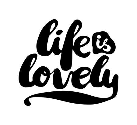 love life: Black and white insulated hand lettering poster stencil. I love life. Vector illustration