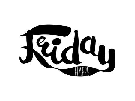 Black and white insulated hand lettering poster stencil. Happy Friday. Vector illustration Illustration