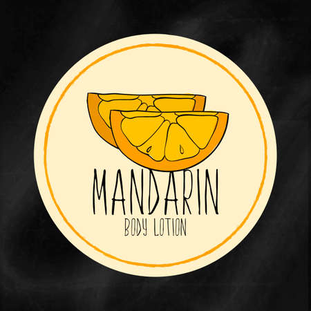mandarins: A set of labels with frames for beauty and health. Mandarin moisturizing lotion for body and hands. Vector
