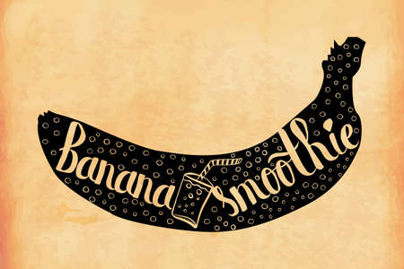 regime: Hand lettering poster sweet fruity banana smoothie in an old retro style. Vector illustration