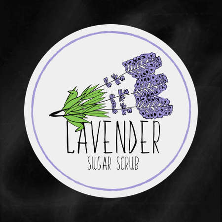 scrub: A set of labels with the staff infrastructure for health and beauty. Lavender sugar scrub for body, hands and face. Vector