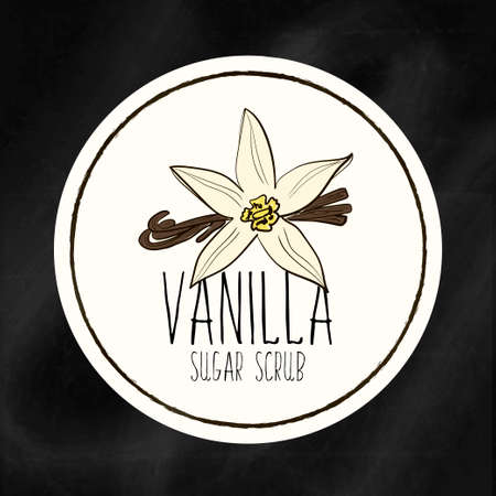 A set of labels with the staff infrastructure for health and beauty. Vanilla sugar scrub for body, hands and face. Vector Vettoriali