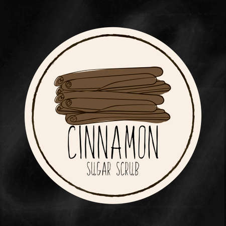 exfoliation: A set of labels with the staff infrastructure for health and beauty. Cinnamon sugar scrub for body, hands and face. Vector