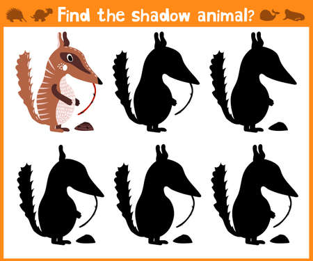 anthill: Cartoon vector illustration of education will find appropriate shadow silhouette animal anteater. Matching game for children of preschool age. Vector illustration Illustration