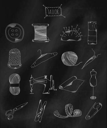 belonging: Linear hand drawn icons on chalk Board. Accessories belonging to a seamstress, tailor, fashion designer. Vector illustration