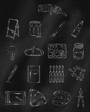 owned: Linear hand drawn icons on chalk Board. Accessories owned by the artist, designer and Illustrator. Vector illustration