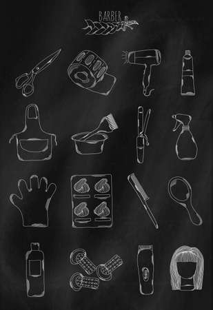 belonging: Linear hand drawn icons on chalk Board. Accessories belonging to the hairdresser to create mens and womens hairstyles. Vector illustration
