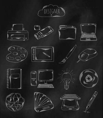 owned: Linear hand drawn icons on chalk Board. Accessories owned by the programmer, the designer, Illustrator and coder. Vector illustration