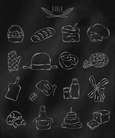 belonging: Linear hand drawn icons on chalk Board. Accessories belonging to the Baker. Vector illustration