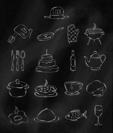 belonging: Linear hand drawn icons on chalk Board. Accessories belonging to chef. Vector illustration