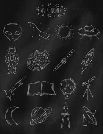 optical people person planet: Linear hand drawn icons on chalk Board. Accessories belonging to the astronomer, astronaut, astrologer. Vector illustration Illustration