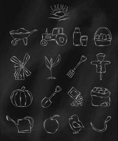 an agronomist: Linear hand drawn icons on chalk Board. Accessories owned by the farmer or agronomist . Vector illustration