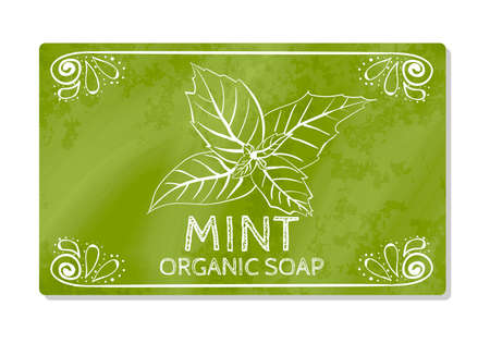 decal: Decal design hand organic soap with mint isolated on white background. Label in hand drawn style. Vector illustration