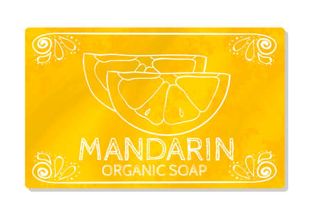 decal: Decal design hand organic soap with mandarin isolated on white background. Label in hand drawn style. Vector illustration