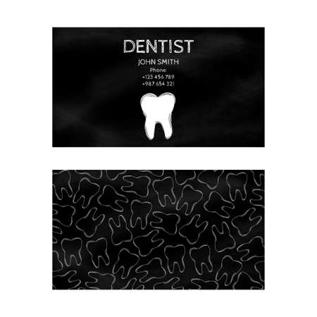 dental treatment: Template professional business cards black for printing in the printing industry isolated on white background. Family doctor, dentistry, prevention and dental treatment. Vector illustration Illustration