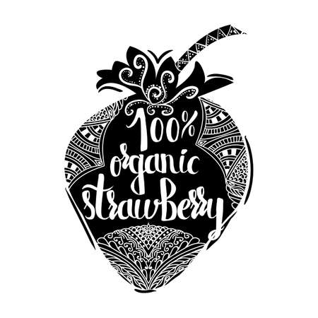 sell online: Creative typographic poster on a black silhouette of sweet strawberries isolated on a white background for the online shops and supermarkets to sell 100 percent organic products. Vector illustration Illustration
