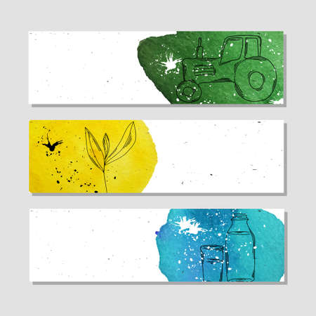 an agronomist: Banners for advertising professional accessories for employees of farmsteads and farms. illustration