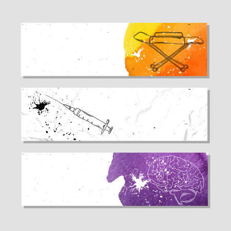 centers: Banners for advertising professional accessories for employees of the medical centers and institutions. illustration Illustration