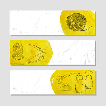 sector: Banners for advertising professional accessories for the garment sector. illustration