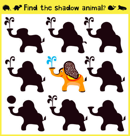 Children's developing game to find an appropriate shadow animal funny baby elephant. Vector illustration Vettoriali