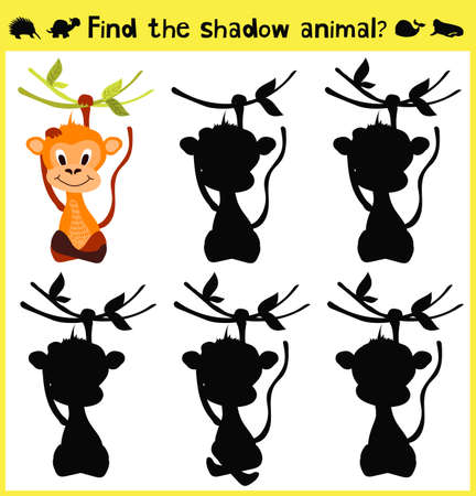 appropriate: Childrens developing game to find an appropriate shadow animal of the monkey. Vector illustration Illustration