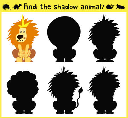 Children's developing game to find an appropriate shadow animal of the lion. Vector illustration