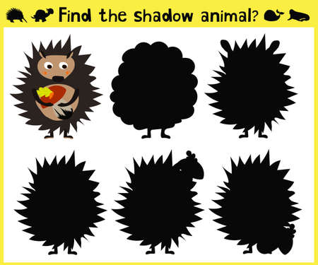 appropriate: Childrens developing game to find the appropriate shade of the forest hedgehog. Vector illustration
