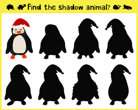 appropriate: Childrens developing game to find an appropriate shadow animal of the penguin. Vector illustration
