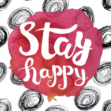 A colorful poster with pink watercolor stain and the lettering with the phrase be happy. Vector illustration