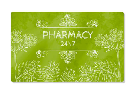 Business card or storefront pharmacies that sell medicines and dietary supplements. Vector illustration